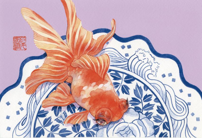岩本夏樹が本展のために描き下ろしたオリジナルのポストカード